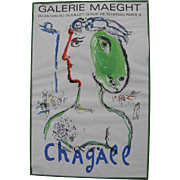 "After MARC CHAGALL (1887-1985) original Galerie Maeght lithograph poster circa 1972 ""Woman-Horse"""