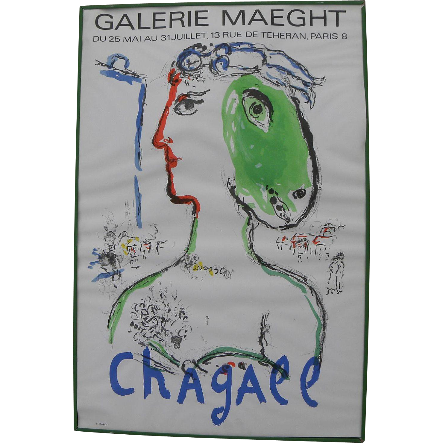 """After MARC CHAGALL (1887-1985) original Galerie Maeght lithograph poster circa 1972 """"Woman-Horse"""""""