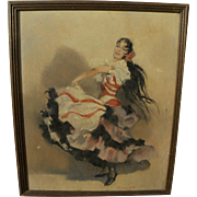 Vintage Spanish art flamenca dancer painting signed