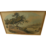 Mid nineteenth century English or American ink and watercolor drawing of country landscape with figures