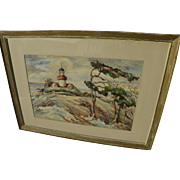 ANNA WILSON (20th century California) watercolor painting of historic Point Pinos Lighthouse, Pacific Grove