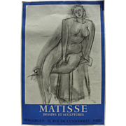 HENRI MATISSE (1869-1954) original lithograph poster for 1956 exhibition at Galerie Berggruen in Paris
