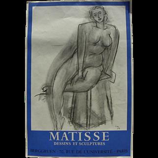 HENRI MATISSE (1869-1954) original lithograph poster for 1956 exhibition at Galerie Berggruen in Paris