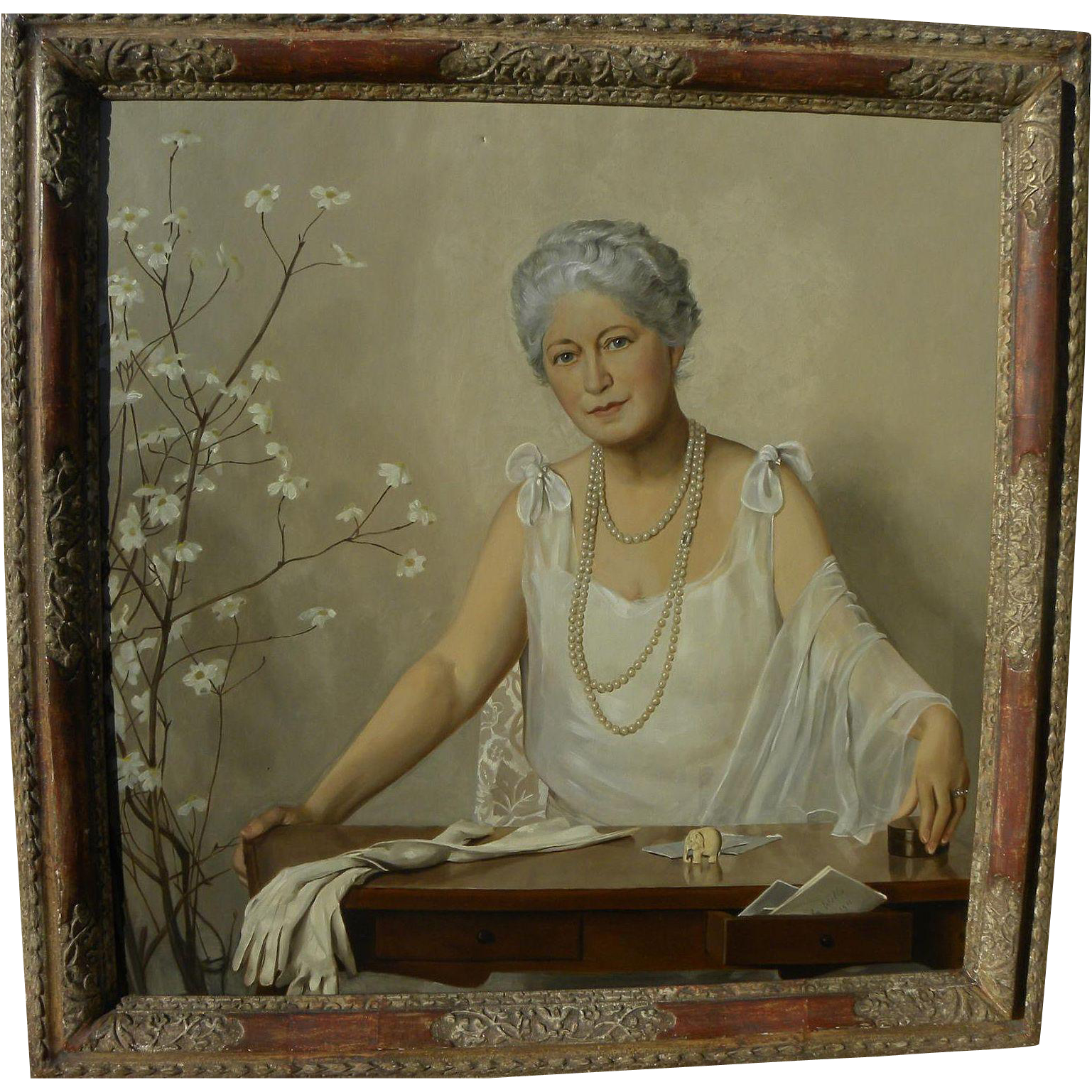 Large signed 1930 dated portrait of elegant society woman in important M. Grieve framing