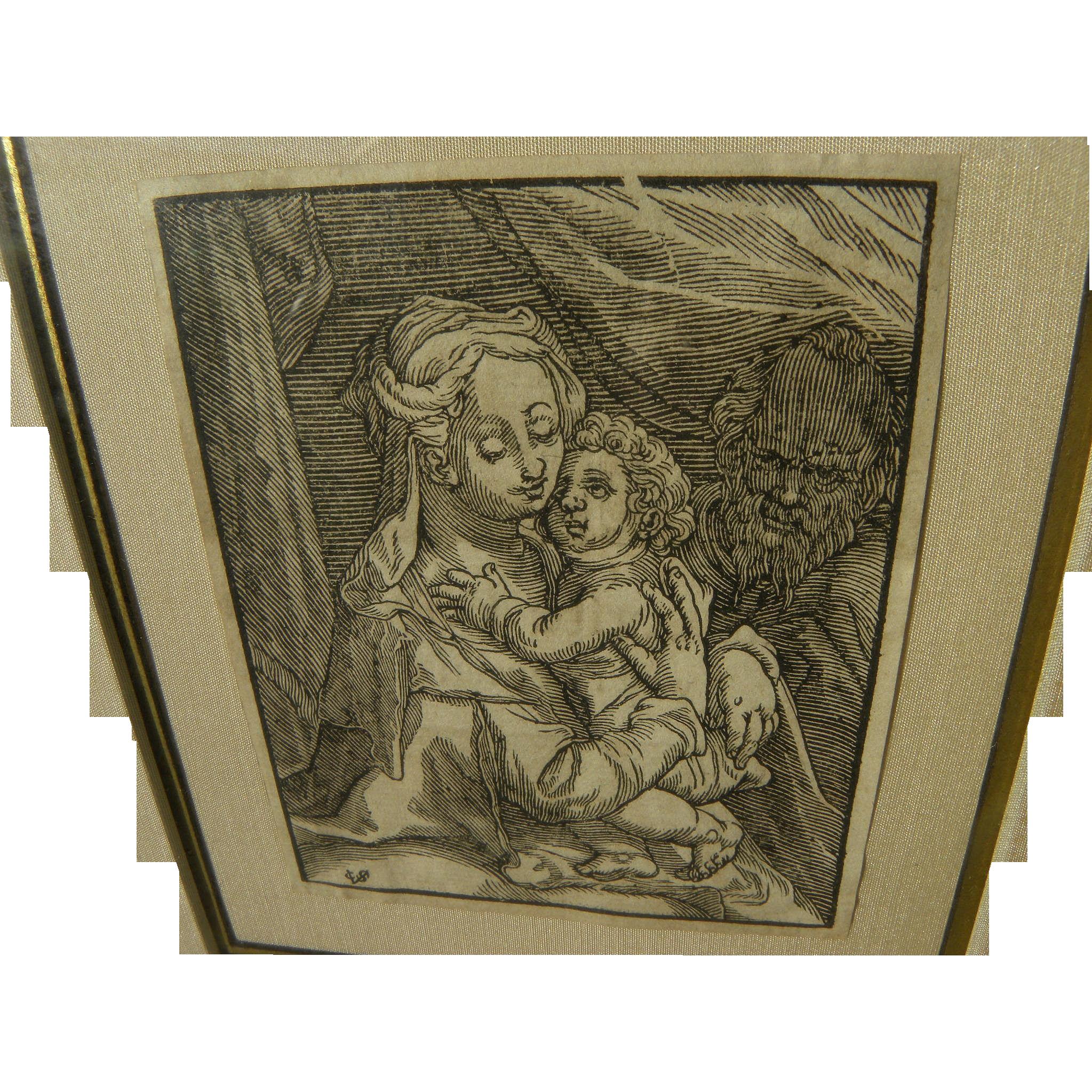 CHRISTOFFEL VAN SICHEM (1546-1624) Old Master woodblock print of Madonna and Child after Albrecht Durer
