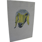 MENASHE KADISHMAN (1932-2015) Israeli art hand signed lithograph print of sheep head by major Jewish artist