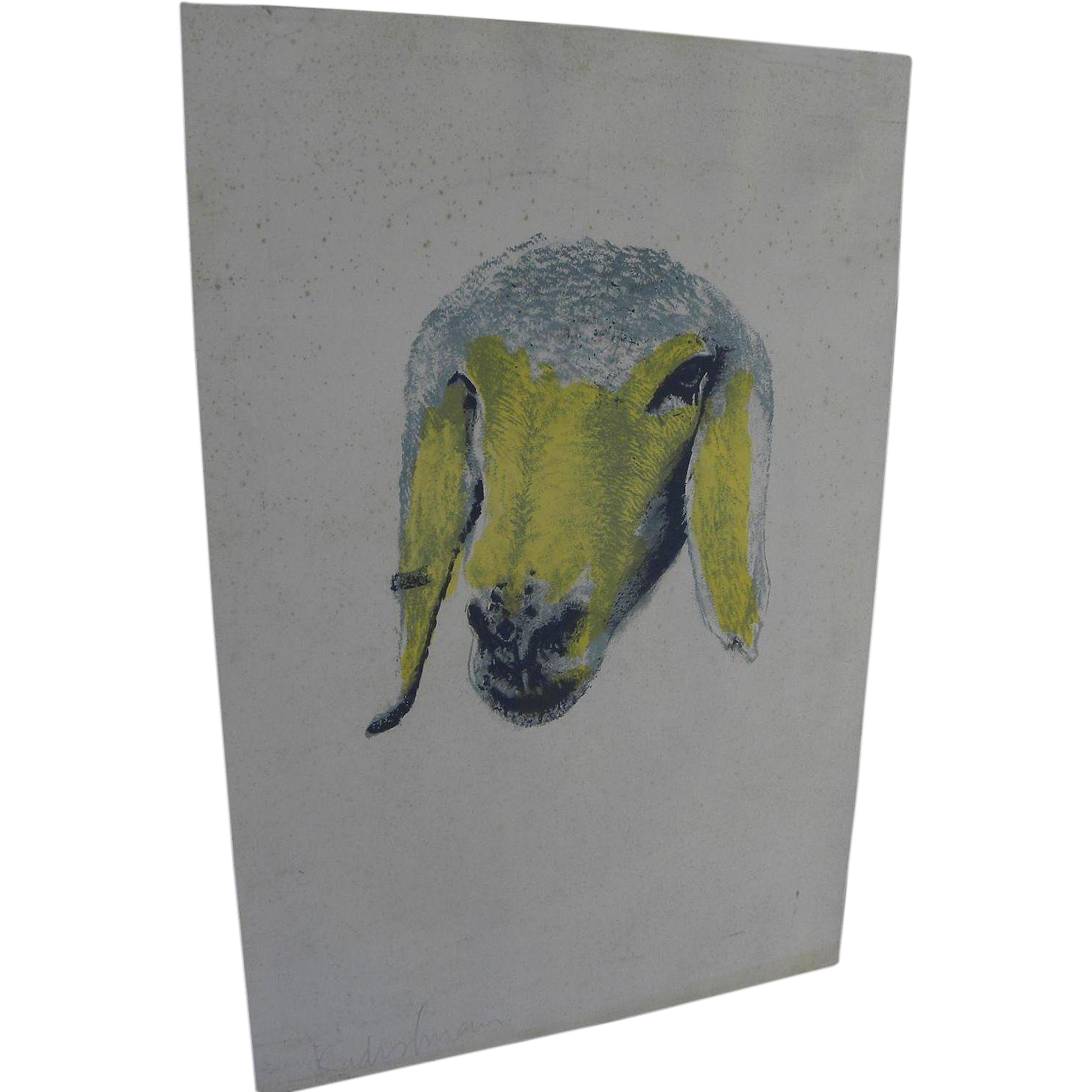 MENASHE KADISHMAN (1932-2015) Israeli art hand signed lithograph print of sheep head by major Jewish artist