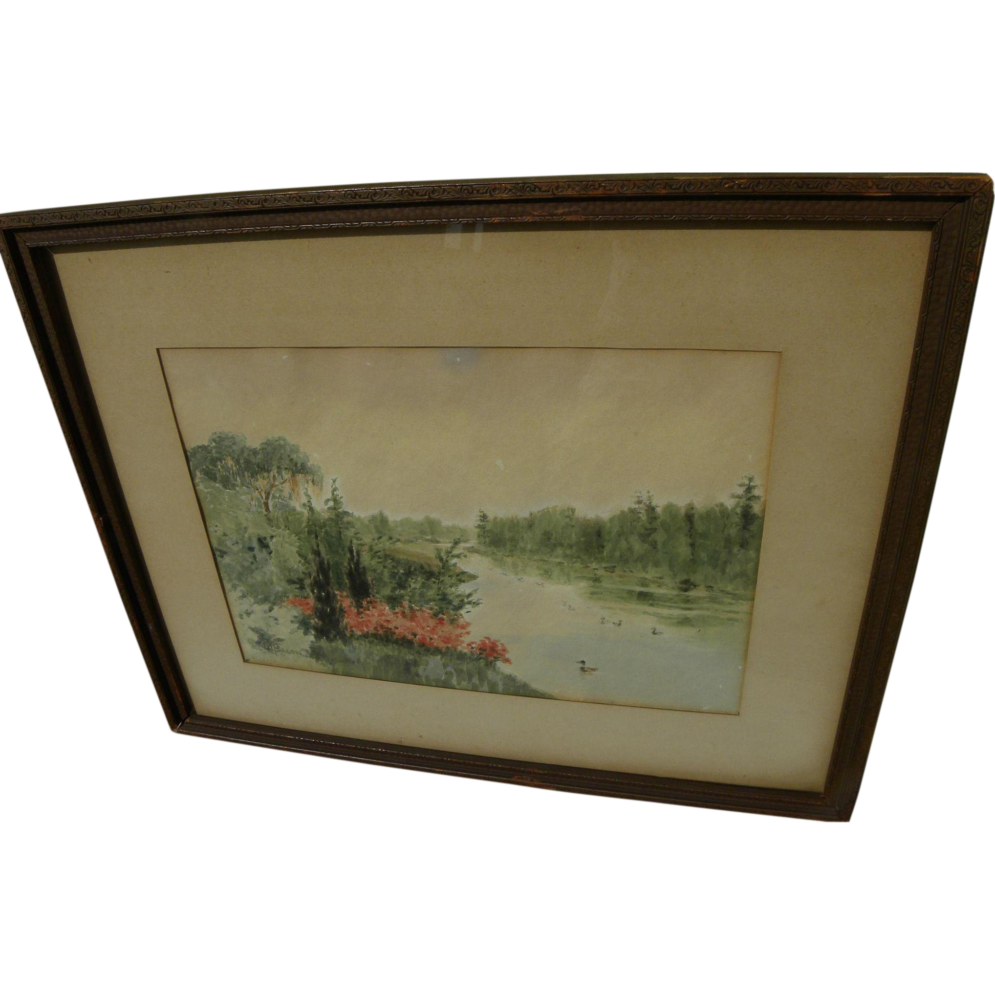Vintage South Carolina watercolor landscape painting by historian and author Edgar Mayhew Bacon 1934
