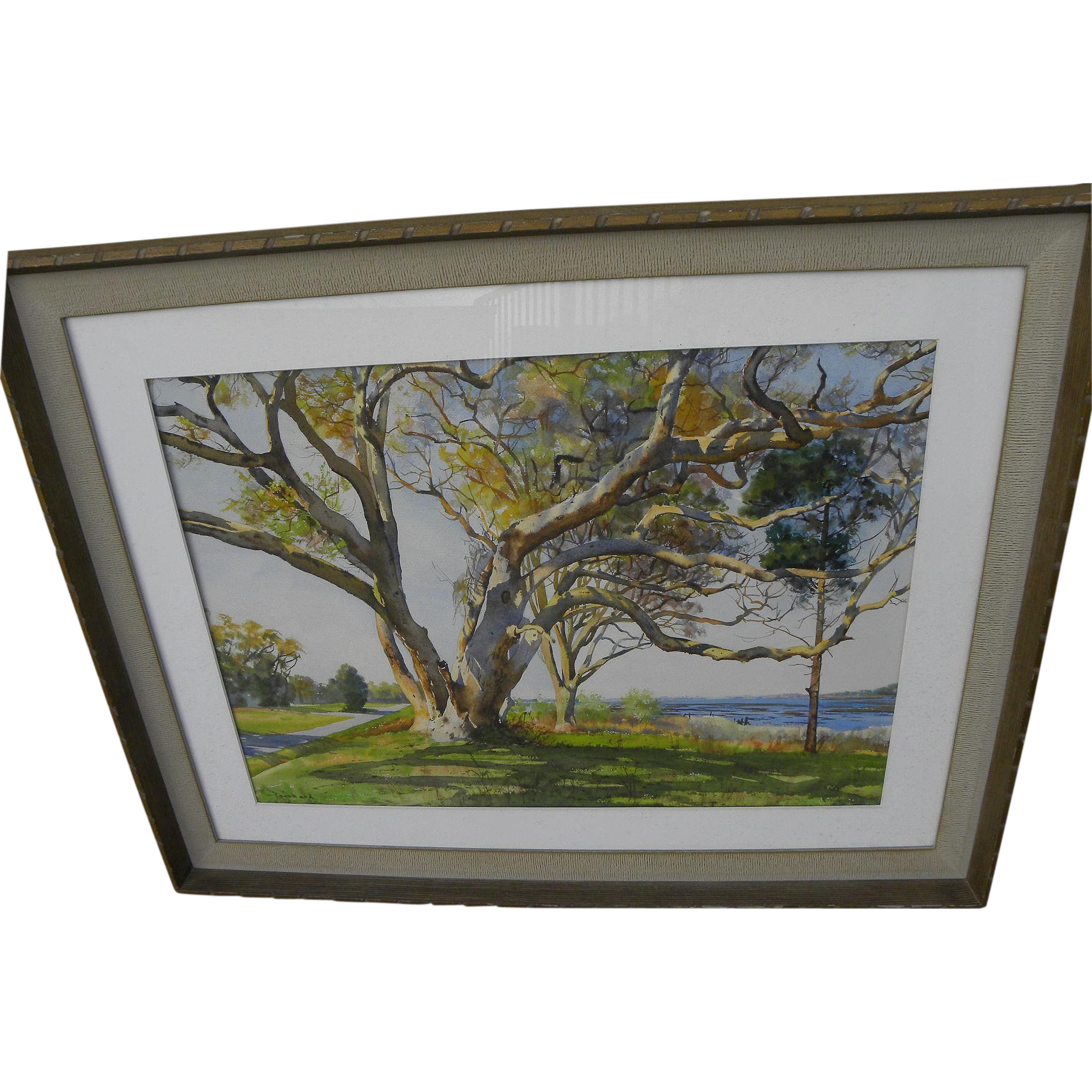 JOEL REICHARD (1909-1986) large watercolor landscape painting by acclaimed Florida artist