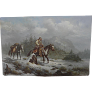 TROY DENTON American western art painting of early Mountain Man on horseback in the snowy mountains