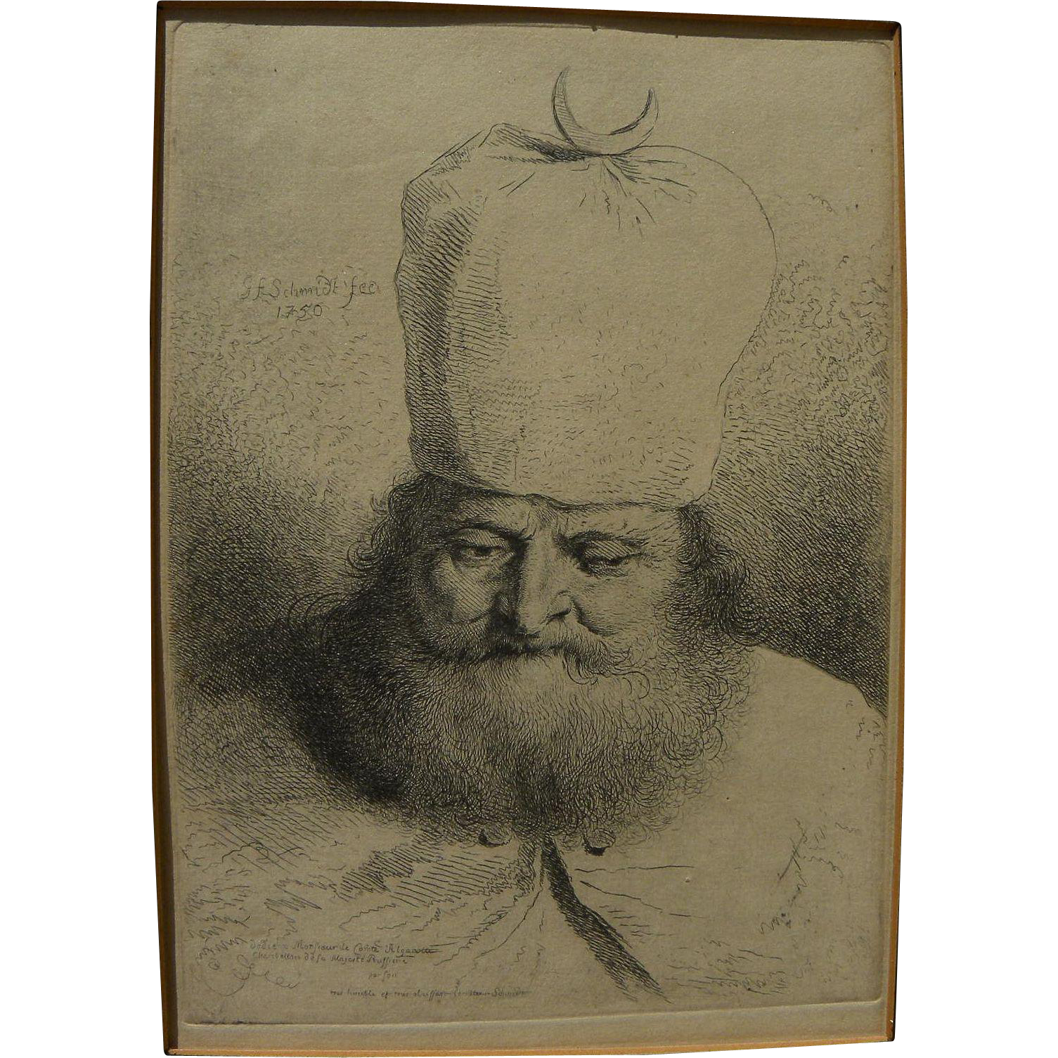 "GEORG FRIEDRICH SCHMIDT (1712-1775) fine early engraving in style of Rembrandt ""Der Bartige Orientale"" by noted German engraver"