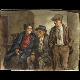ALBERT ABRAMOVITZ (1879-1963) Social Realism WPA style 1930's watercolor painting