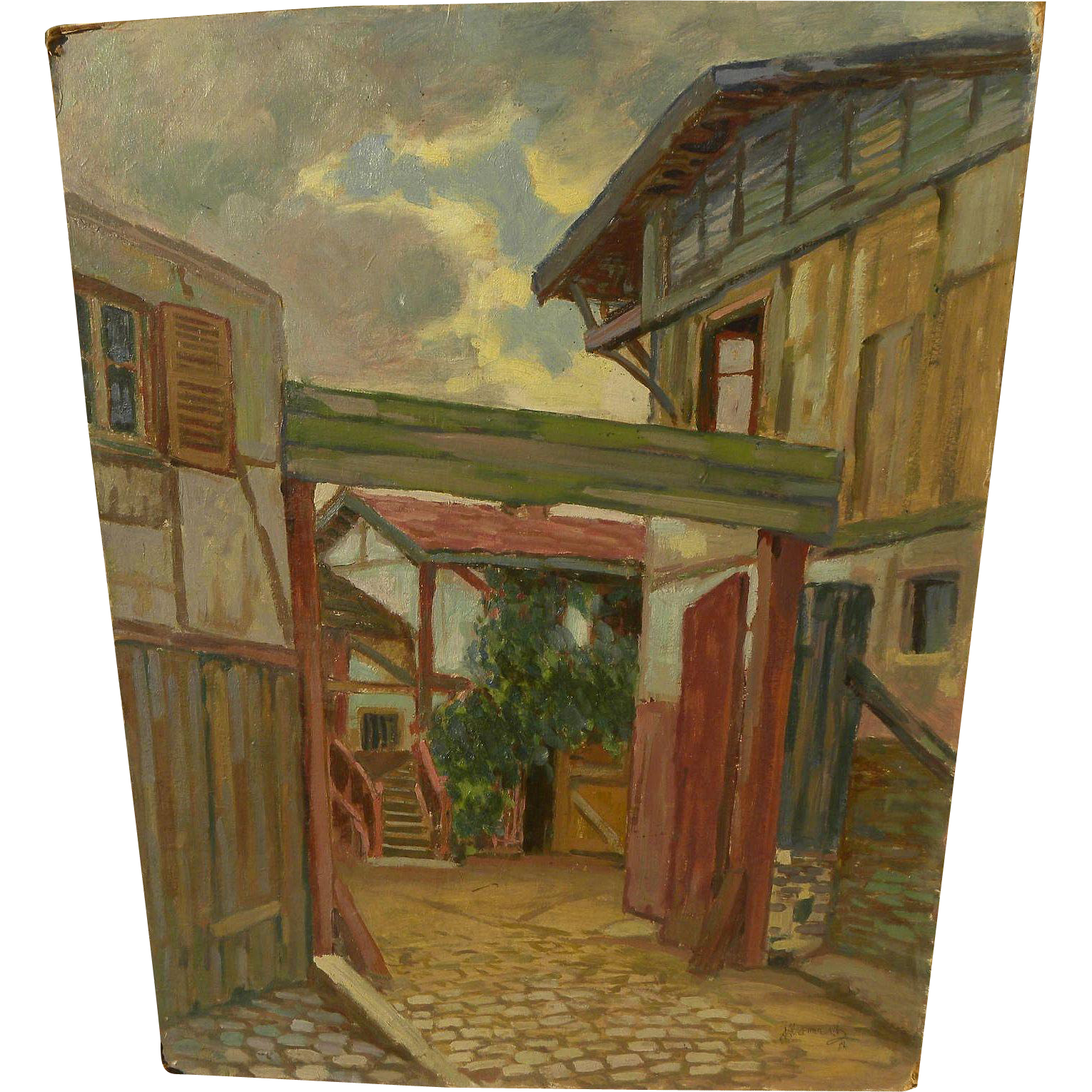 ALBERT ABRAMOVITZ (1879-1963) oil on board painting of European village