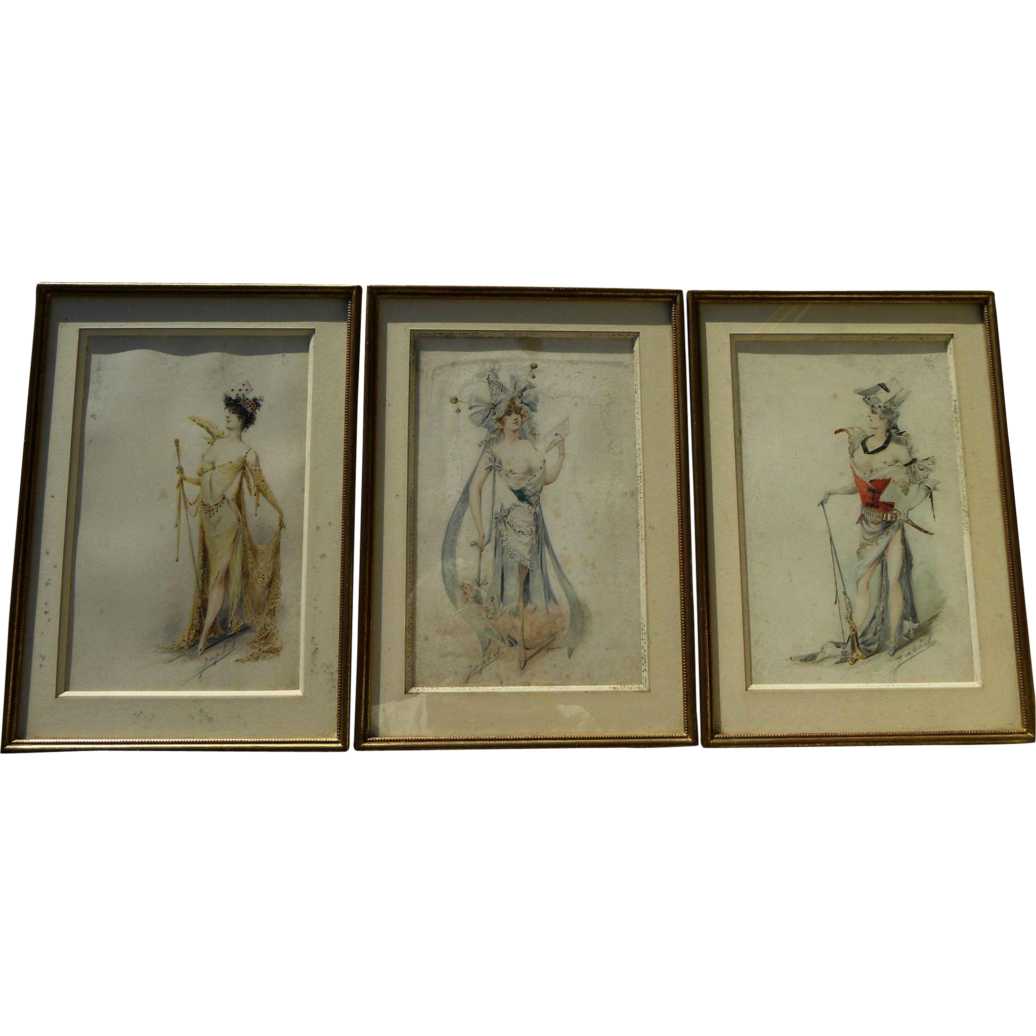 ALEXANDRE JEAN LOUIS JAZET (1814-1897) ***three*** original Art Nouveau watercolor drawings of women in elaborate costumes by noted French illustrator artist