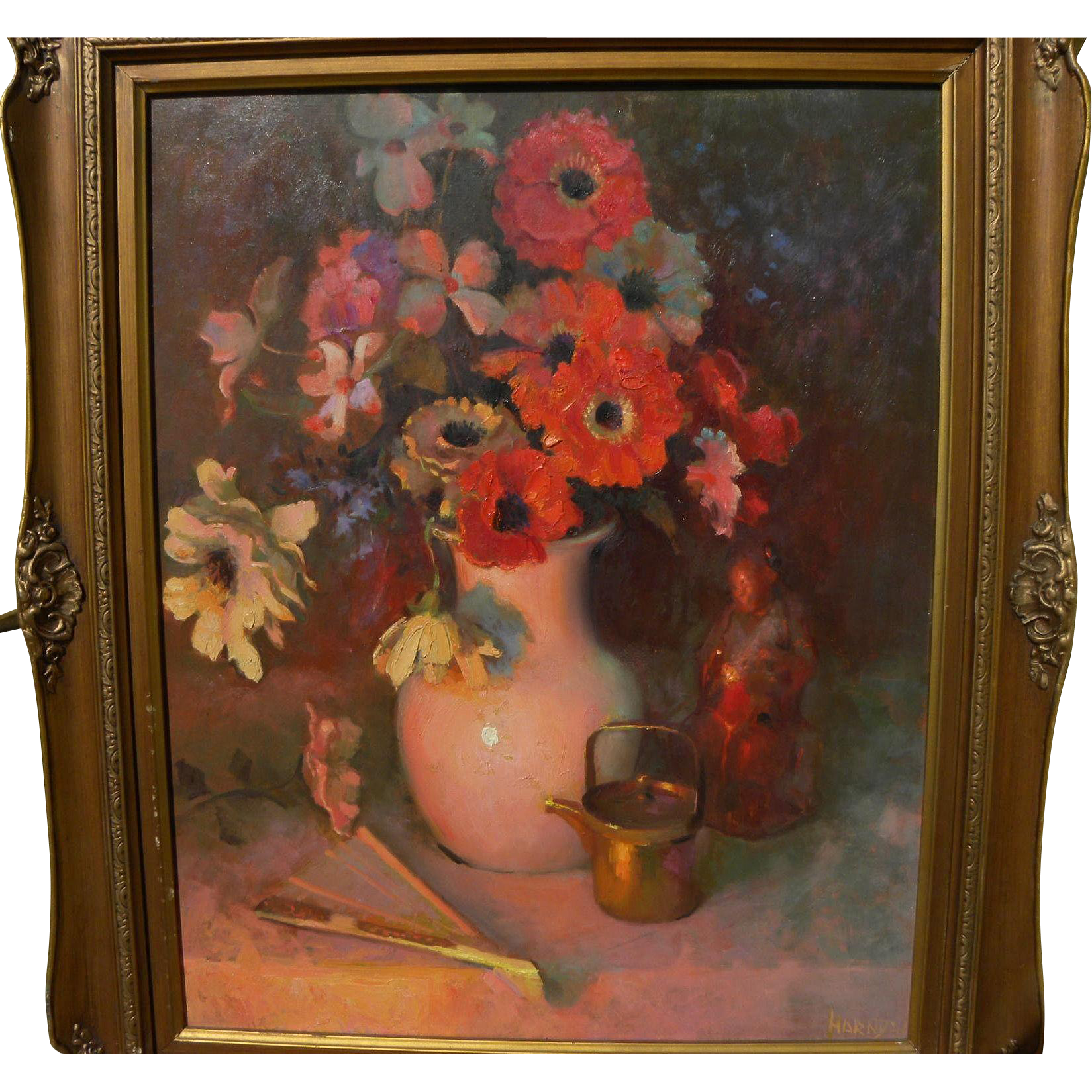 WILLIAM HARNDEN (1920-1983) American impressionist floral still life painting circa 1950's