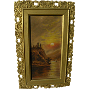 Circa 1900 naive vintage painting of lake at sunset