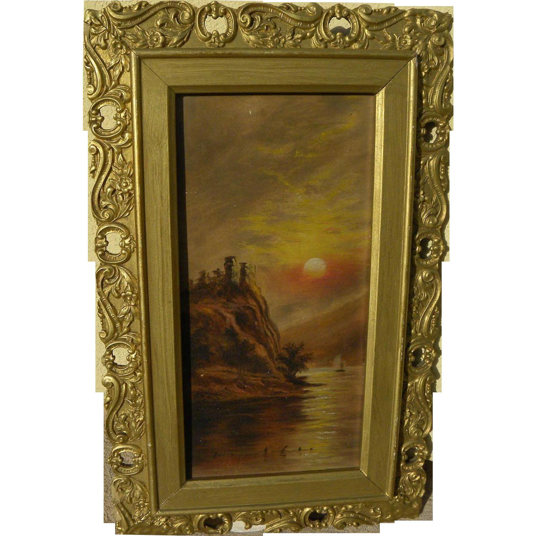 Circa 1900 naive vintage painting of lake at sunset