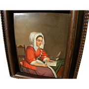 Late 18th or early 19th century painting on porcelain after Dutch Old Master artist Gabriel Metsu