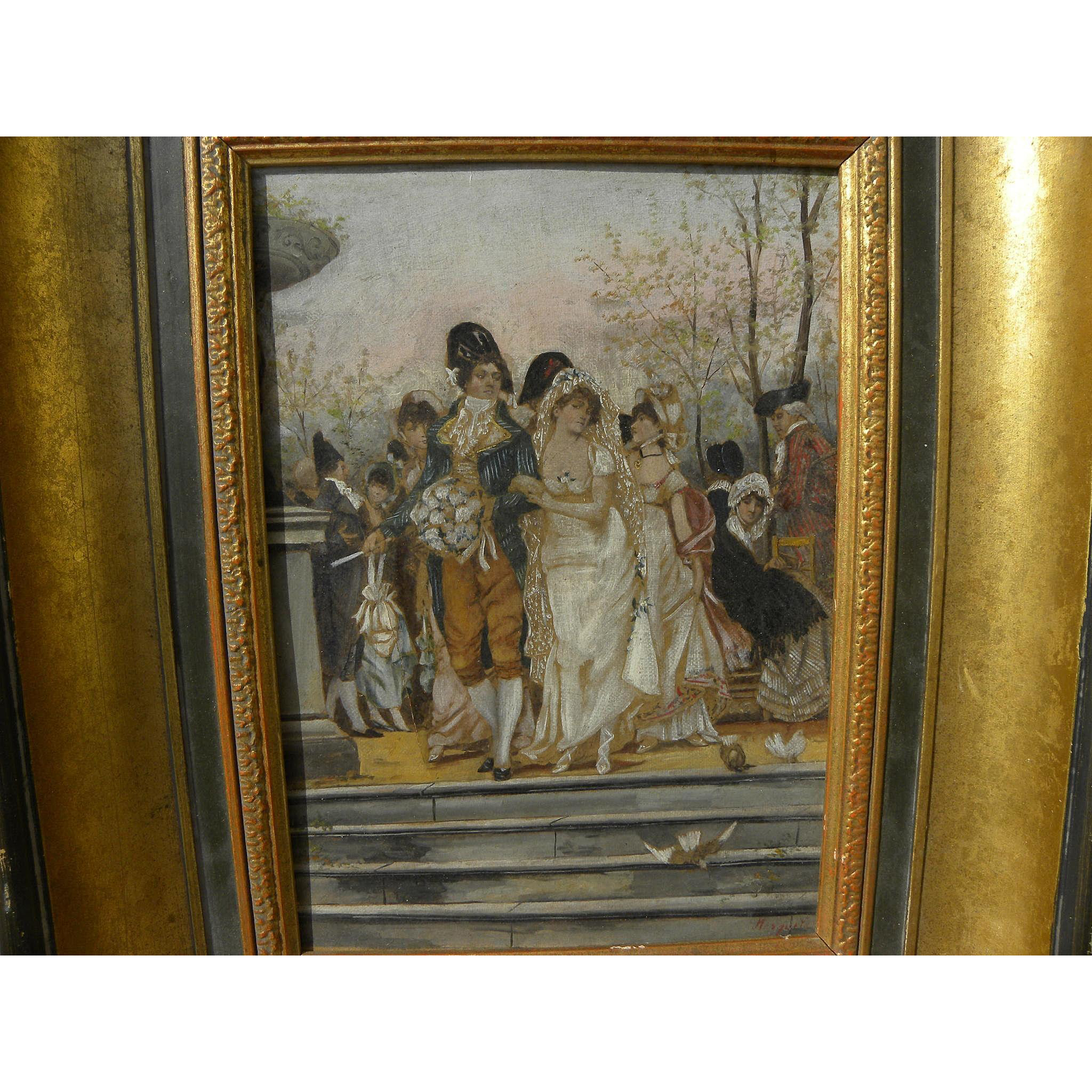 19th century European hand coloring over photographic print decorative work appearing as painting