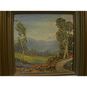 California vintage art small oil landscape painting by Verne (GLADYS DUCKWORTH 1904-1981)