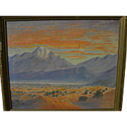 Vintage circa 1930's California desert landscape painting by ESSIE KAILEY (1897-1986)