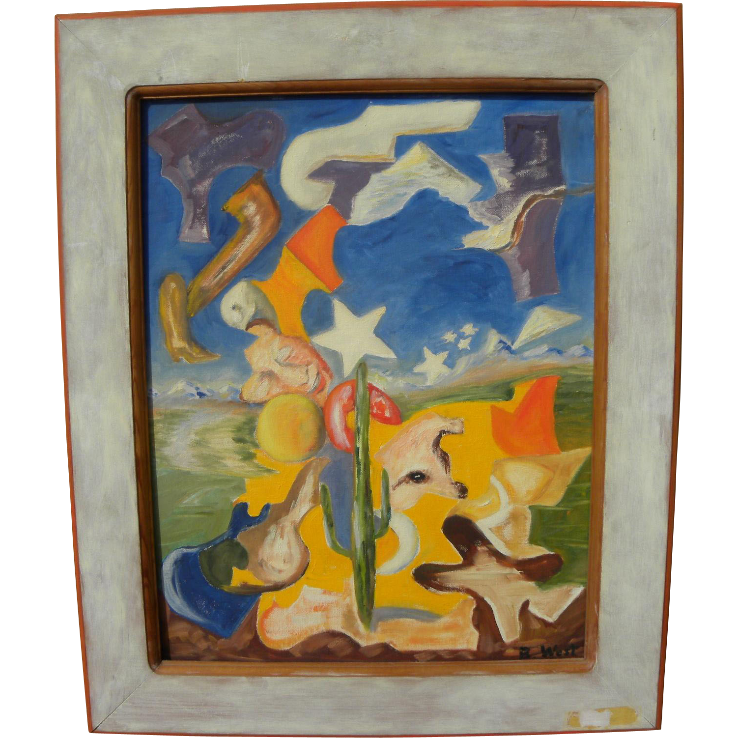 "Vintage Arizona art 1952 modernist exhibited painting by artist BESS WEST titled ""Fantasia"""