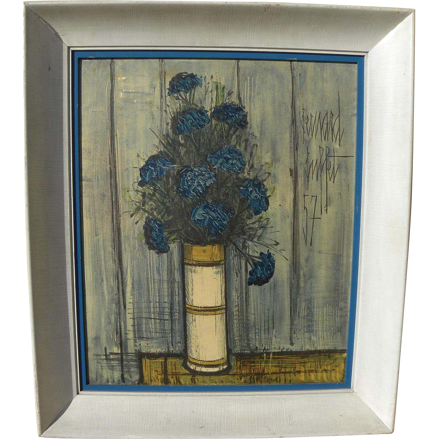 "After BERNARD BUFFET (1928-1999) framed vintage mid century color photographic print ""Blue Bouquet"""