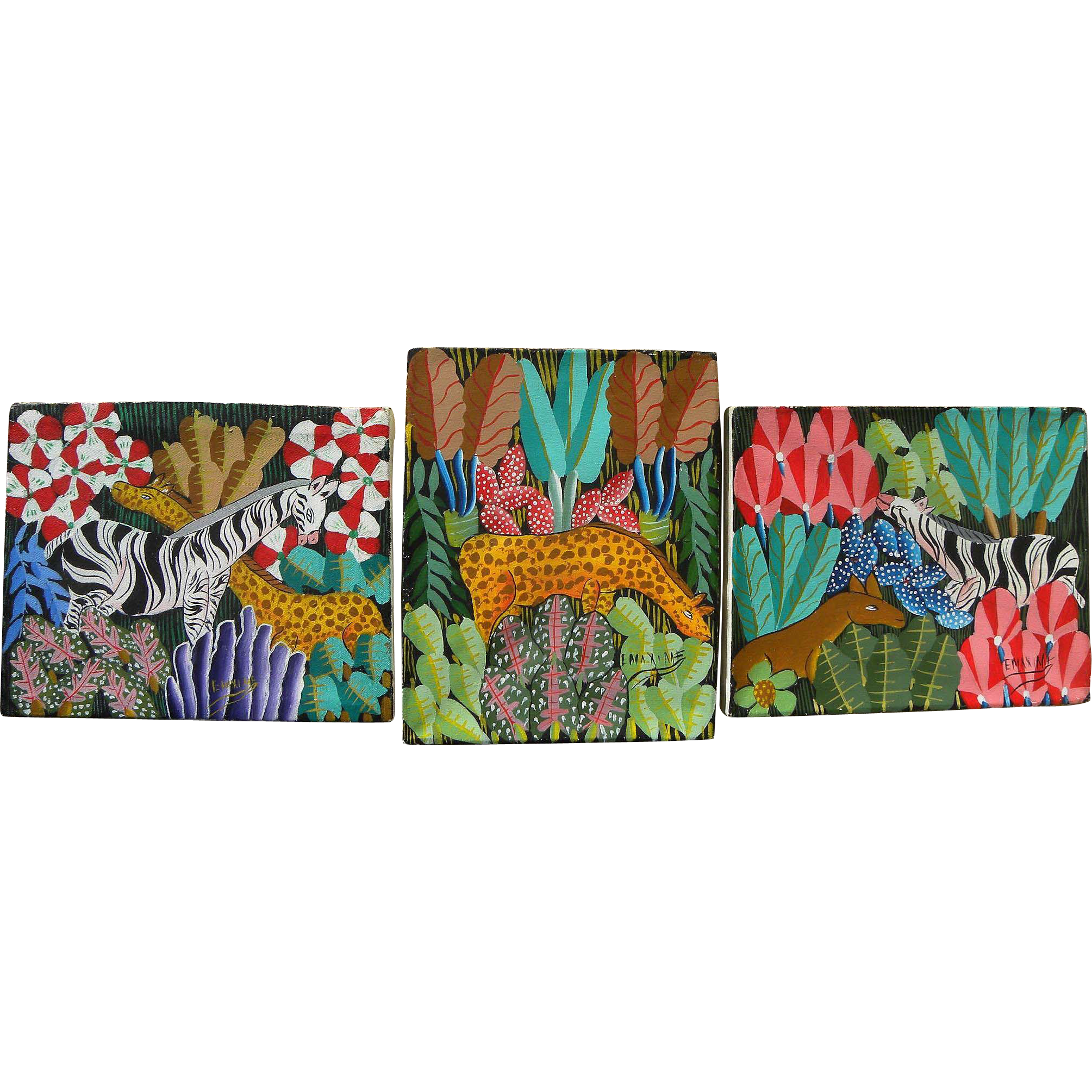Haitian art THREE naive colorful paintings of zebras and giraffes in landscapes