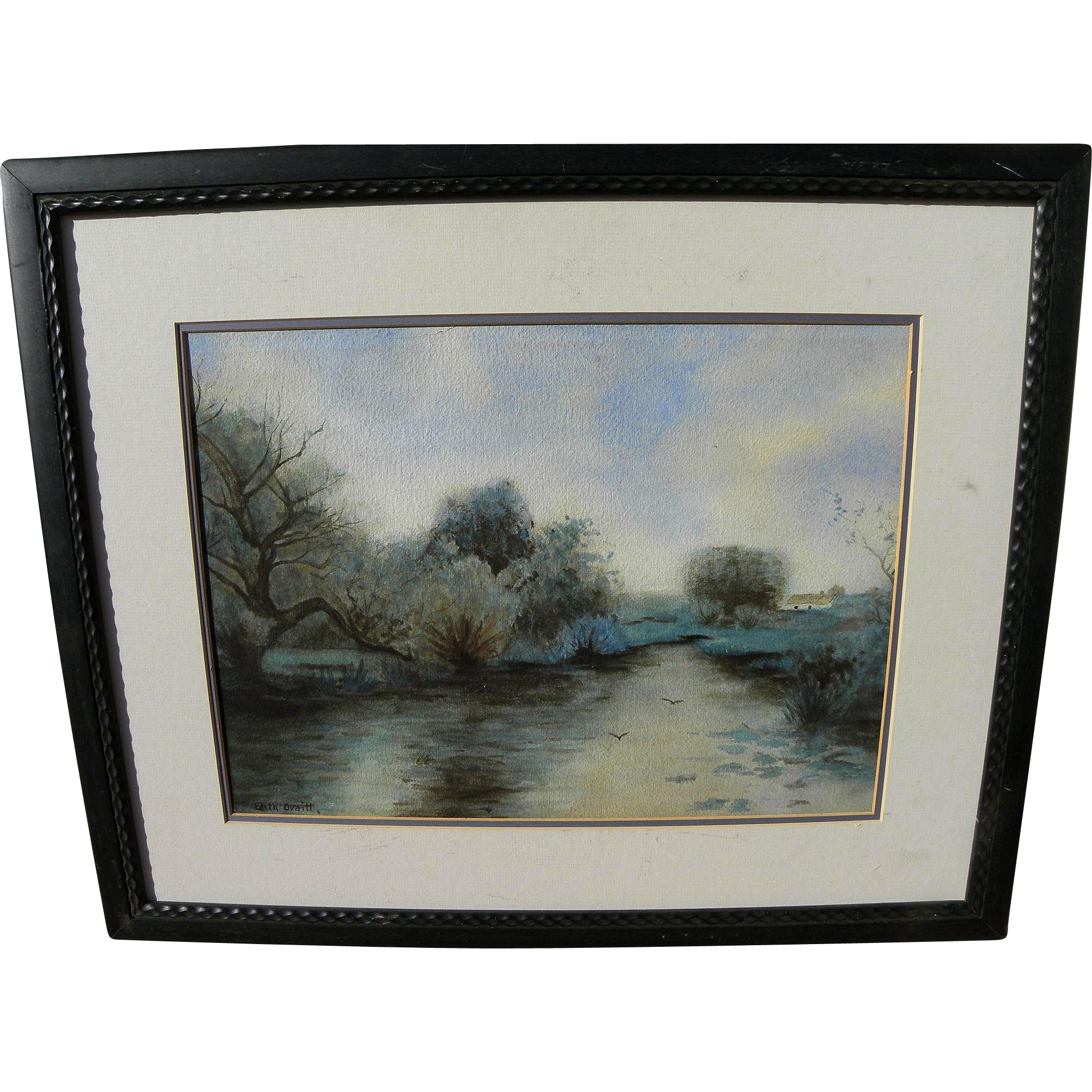 American vintage watercolor landscape painting signed Edith Ovaitt