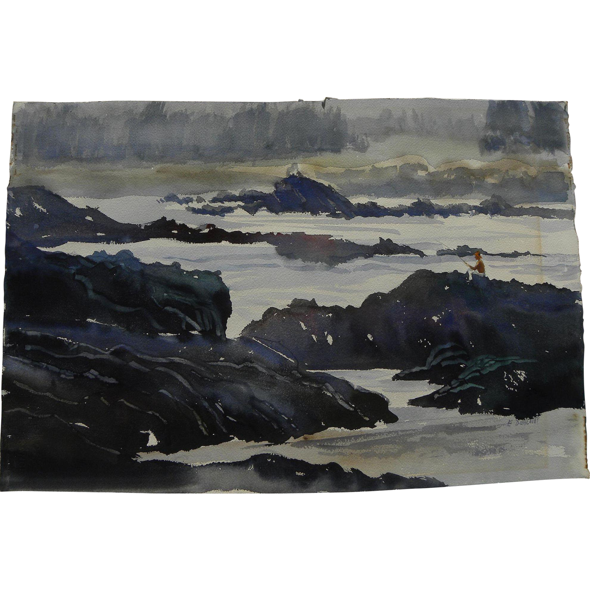 American watercolor painting of fisherman on the rocks signed E. Dunlavey