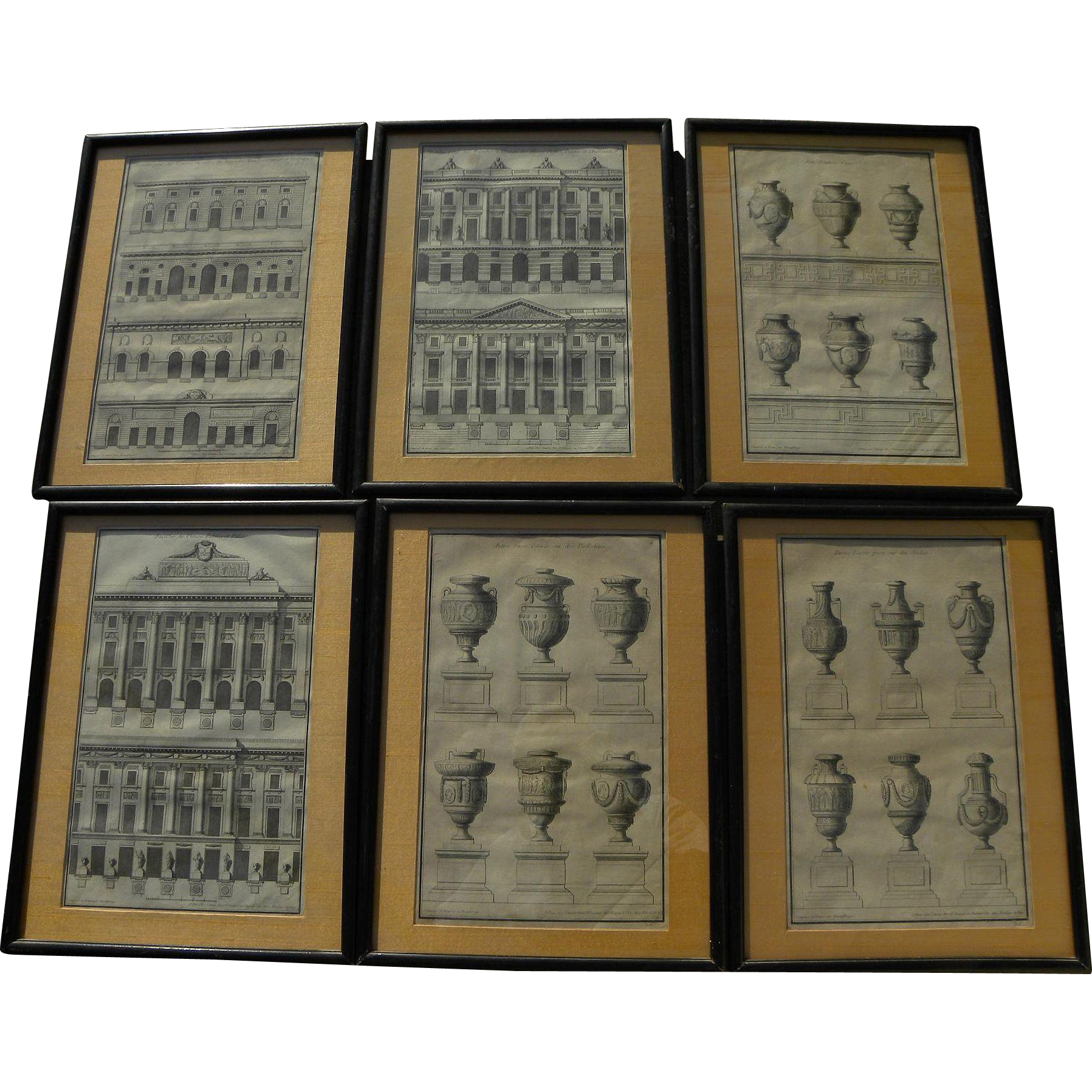 JEAN FRANCOIS DE NEUFFORGE (1714-1791) **six** framed architectural engravings by noted Flemish architect and engraver