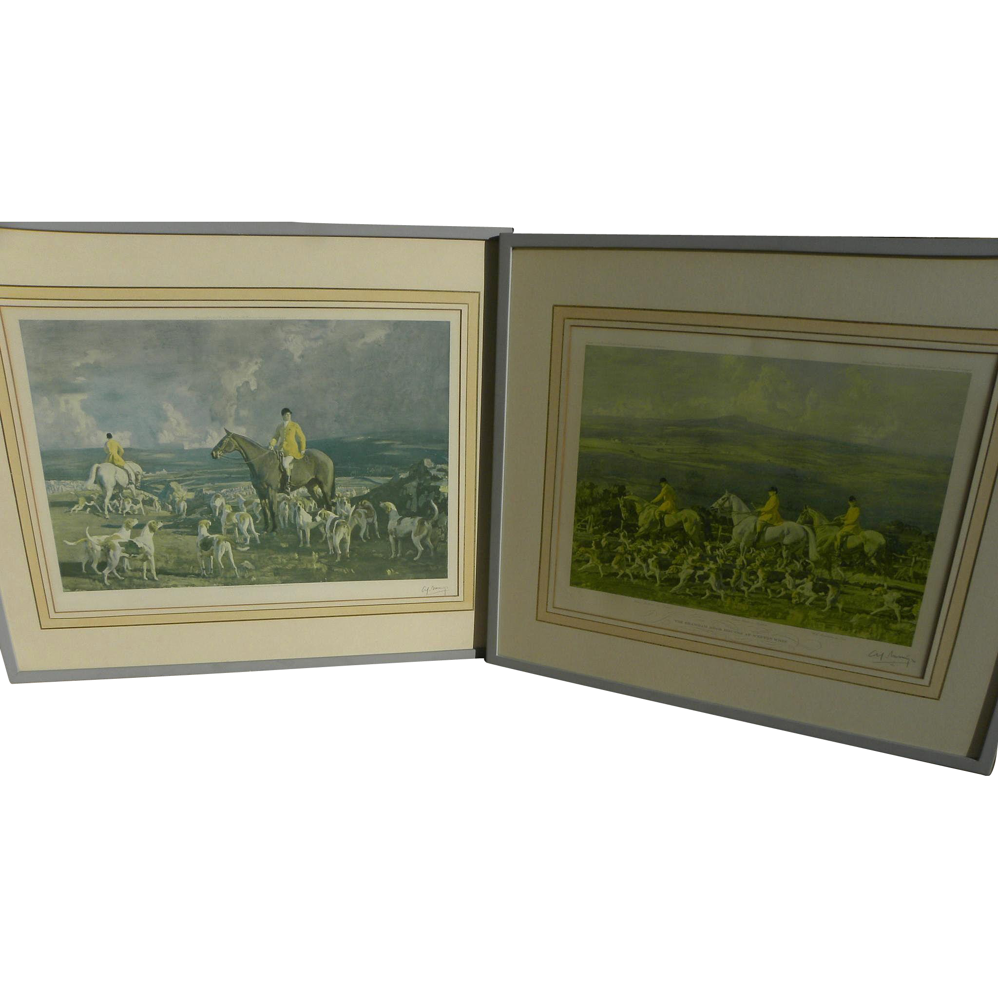 ALFRED MUNNINGS (1878-1959) pencil signed **PAIR** of lithographs of race horse and fox hunt by the acclaimed English sporting art master artist