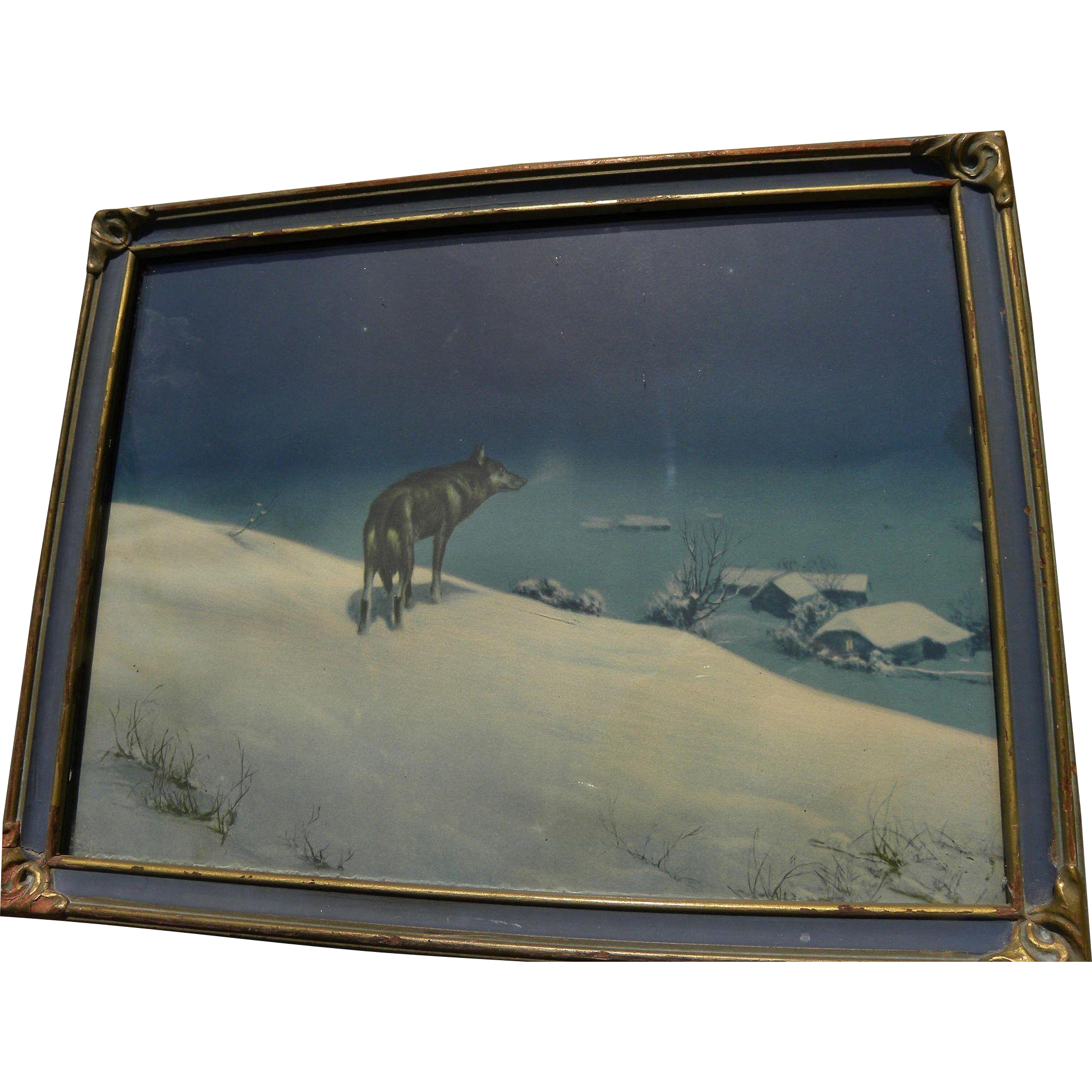 "Famous 1920's ""Lone Wolf"" print by Alfred Kowalski-Wierusz (1849-1915) in attractive vintage 1920's frame"