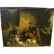 Old painting of Scotsman and his hounds in cottage interior