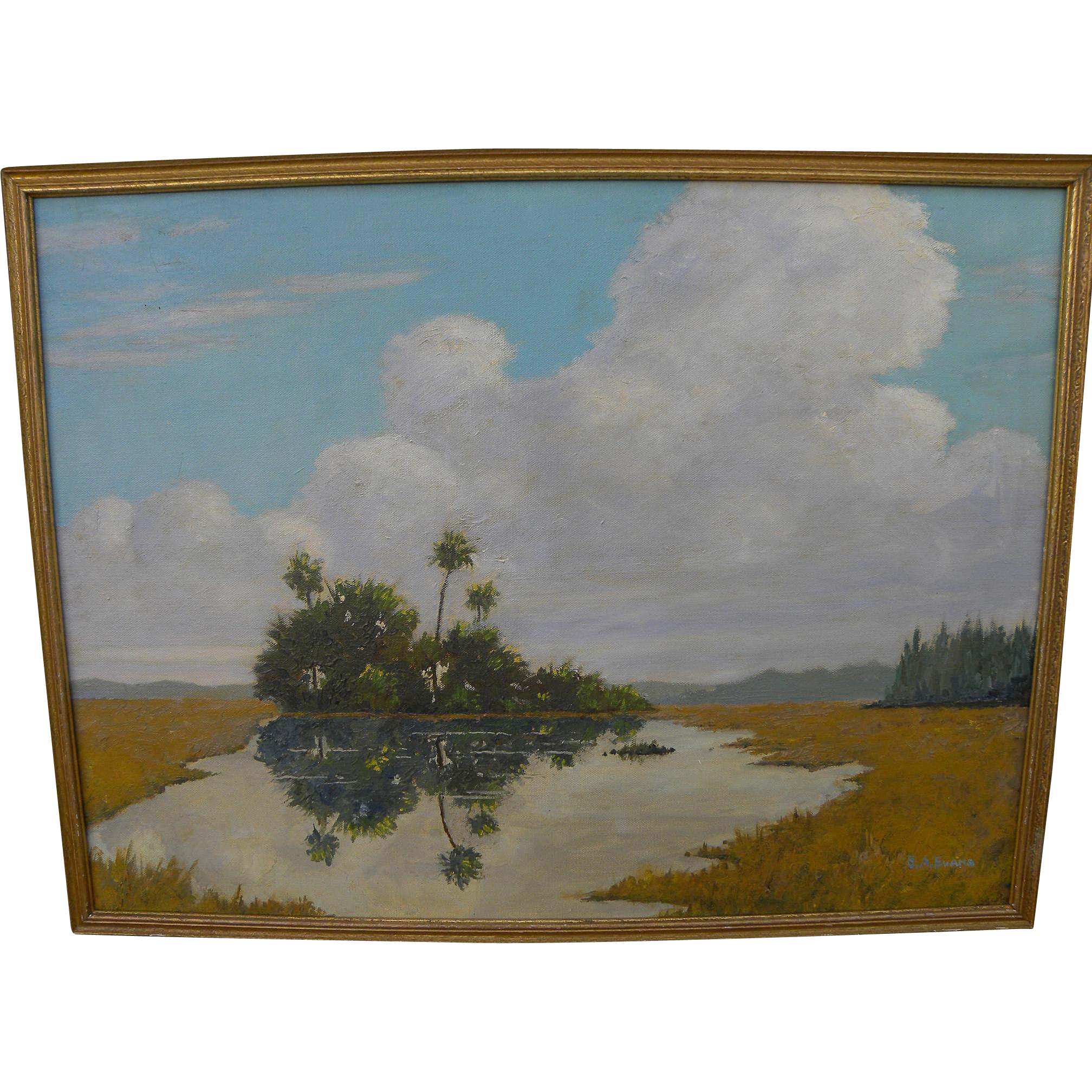 Florida art vintage Everglades oil painting signed by professional artist EDWARD ARTHUR EVANS (1895-)