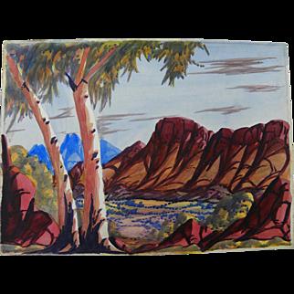 EWALD NAMATJIRA (1930-1984) Australian aboriginal art watercolor painting of Central Australia landscape
