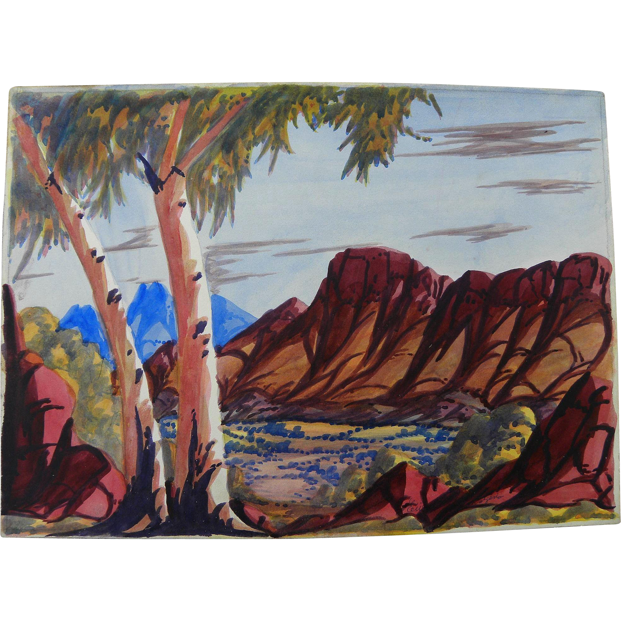 EWALD NAMATJIRA (1930-1984) Australian aboriginal art watercolor painting of Central Australia landscape