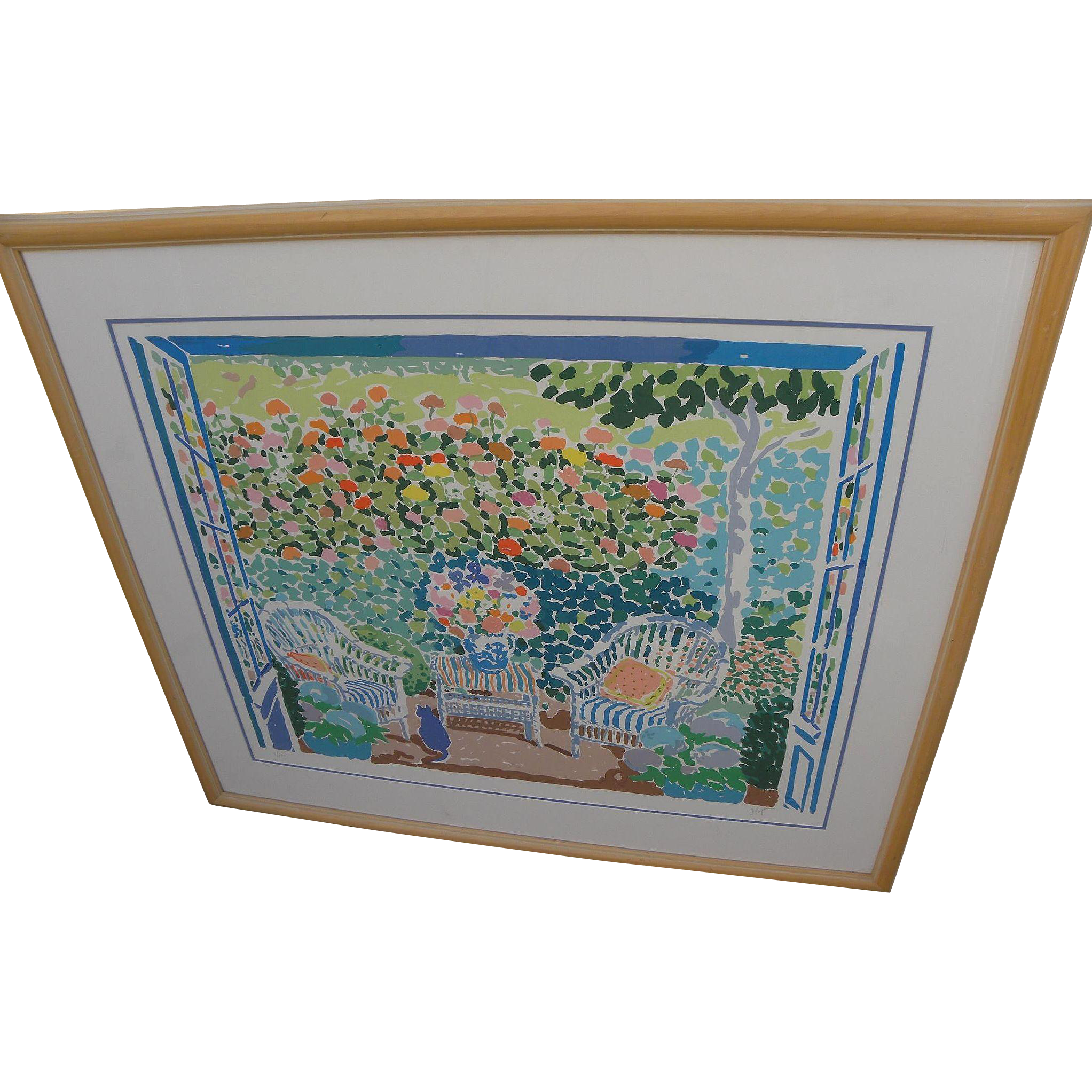 JOHN BOTZ (20th century American) large colorful post impressionist limited edition hand signed print of a sunny patio by noted artist and designer