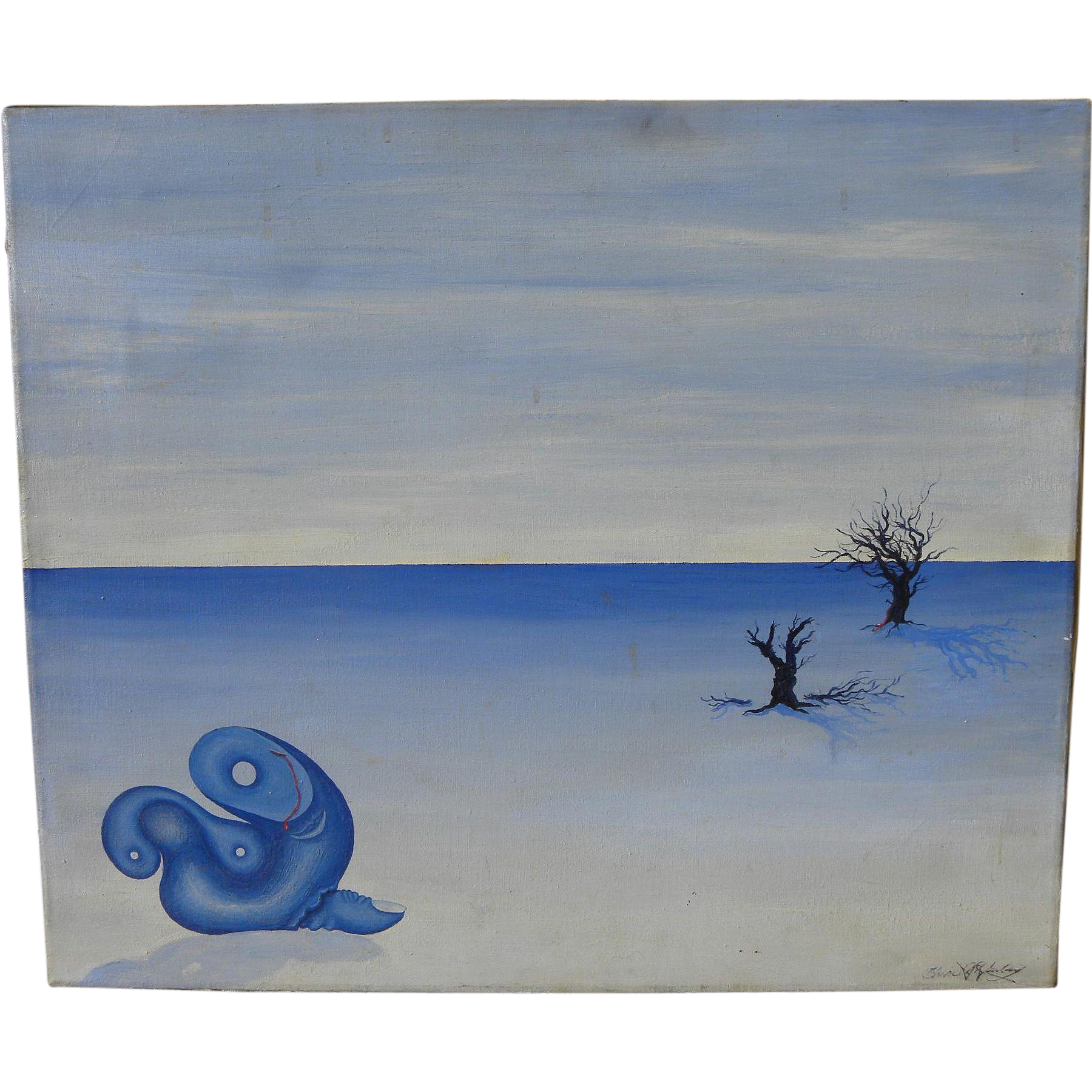 American surrealist 1974 signed painting