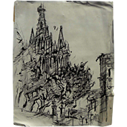 DAN LUTZ (1906-1978) ink drawing of cathedral in Mexico by well listed California modernist artist