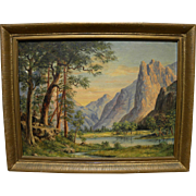 Vintage California art oil painting of Yosemite Valley signed M. Walter