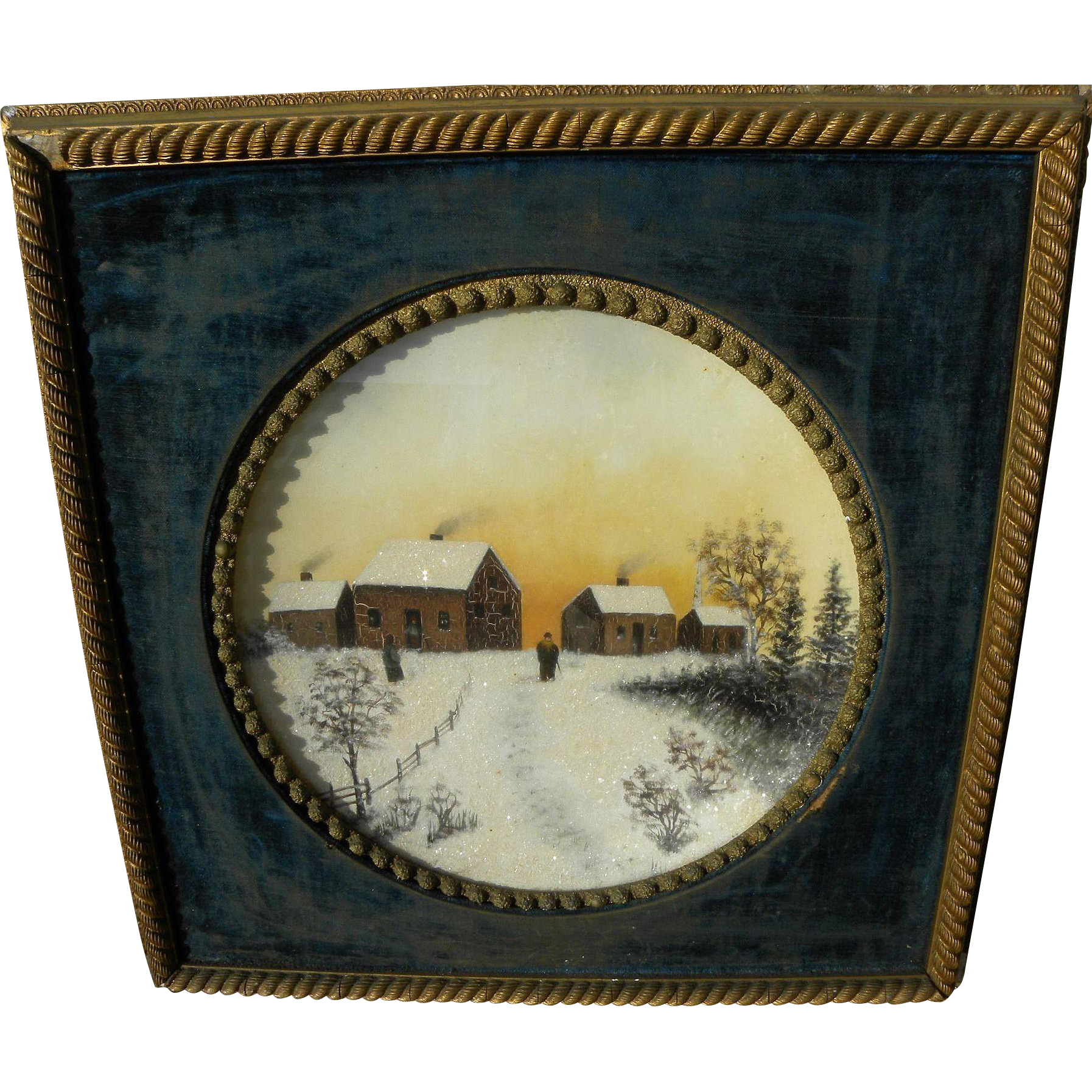 Victorian winter landscape painting with snow sparkles in round framing with velvet liner