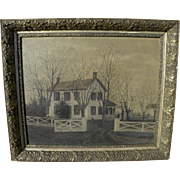 Folky circa 1880 American painting of an early rural clapboard house