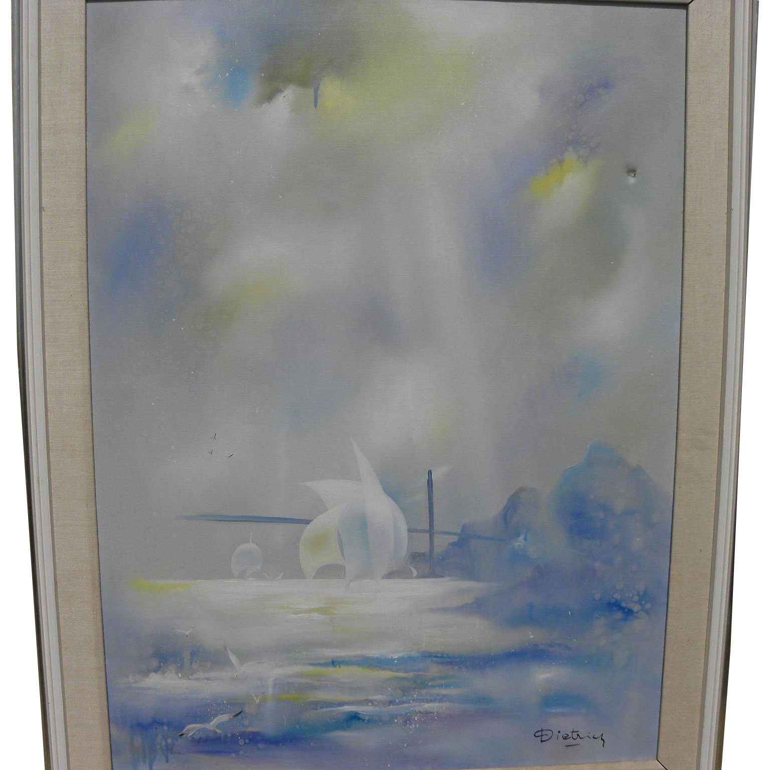 HERMANN DIETRICH (1916-2003) original mid century oil painting of Golden Gate in San Francisco by listed California impressionist artist