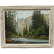 JAMES MERRIAM (1880-1951) California plein air art large oil painting of Yosemite Valley
