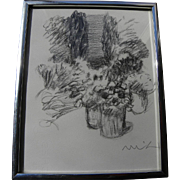 ROGER MUHL (1929-2008) charcoal drawing of planters in patio setting by noted French contemporary artist
