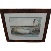 American signed 1915 watercolor painting of a bridge