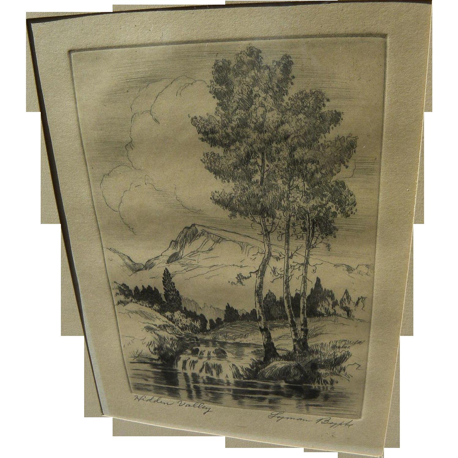 """LYMAN BYXBE (1986-1980) vintage Colorado etching print """"Hidden Valley"""""""