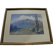Vintage pastel mountain landscape drawing possibly Colorado signed I E Cutler