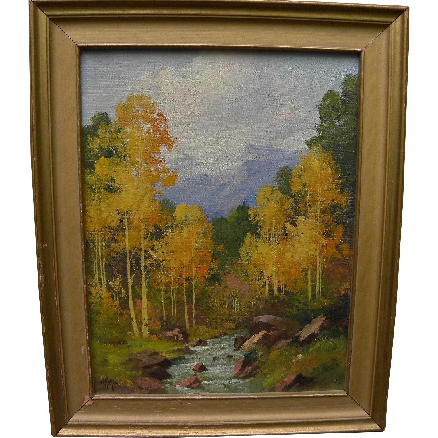 WILLARD PAGE (1885-1958) Southwestern art Colorado landscape painting of flaming aspen in the fall